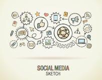 Social media hand draw concept icons Stock Photos