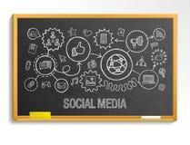 Social media hand draw integrate icons set on school blackboard Royalty Free Stock Photography
