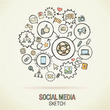 Social media hand draw sketch icons Royalty Free Stock Image