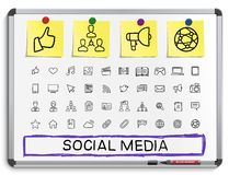 Social media hand drawing line icons. Royalty Free Stock Image