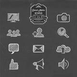 Social media hand drawn doodle internet icon set Stock Photos