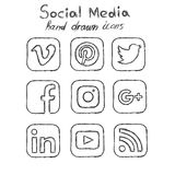 Social media hand drawn icons. Outline style Stock Photos