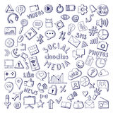 Social media hand drawn icons set. Computer and network doodle vector illustrations. Network media sketch icons, social media doodle Royalty Free Stock Images
