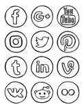Social media hand drawn icons. Vector collection of the most popular social networks icons in hand drawn calligraphic marker style. Including google+ (2015) and royalty free illustration