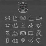 Social media hand drawn line icon set Royalty Free Stock Photos