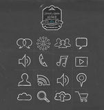 Social media hand drawn sketch icon set Royalty Free Stock Photo