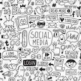 Social Media Hand Drawn Texture Pattern Stock Image