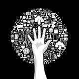 Social media hand tree Stock Photos