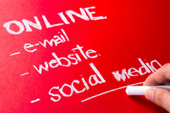 Social media. Hand writing ON Line concept with chalk, underline at Social media word Stock Images