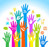 Social media hands. Media-Human-mobile.The development of global communications. Communication in mobile and internet networks