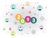 Social media happy new year Stock Photo