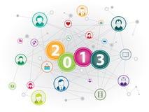 Social media happy new year Stock Photo