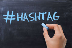 Social media hashtag on blackboard. With chalk Royalty Free Stock Photo