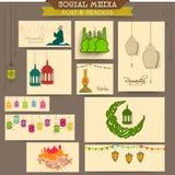 Social media header or banner for Ramadan Kareem celebration. Stock Image