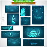 Social media header or banner for Ramadan Kareem celebration. Stock Images