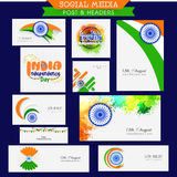 Social media header for Indian Independence Day. Royalty Free Stock Photo