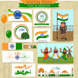 Social media header for Indian Independence Day. Royalty Free Stock Image