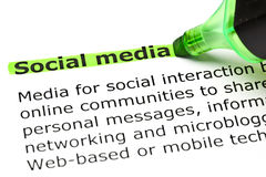 `Social media` highlighted in green royalty free stock photo