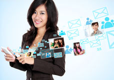 Social media on hightech concept. Happy businesswoman receiving and sending email. social media hightech concept stock photo