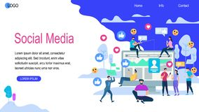 Social Media Horizontal Banner with Copy Space. Young Men and Women Sitting on Huge Monitor and Walk Around Using Smartphones. People Texting Messages to royalty free illustration