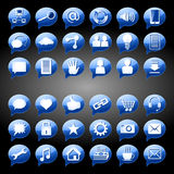 Social Media Icon Button round blue Stock Images