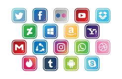 18 social media icon button set. Different types of social media icon collection with creative buttons Stock Image