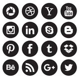 Social media icon collection buttons. Different types of social media black and white icon collection with creative buttons stock illustration