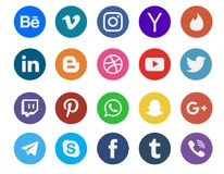 Social media icon collection. Different types of social media icon collection vector illustration