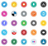 Social media icon. Collection of 25 most popular social media and network buttons Stock Photography