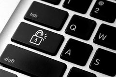Social media icon on computer keyboard Stock Images