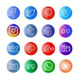 Glossy Social media icon and buttons vector illustration
