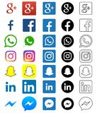 Social media icon for Facebook, Whatsapp, Skype, Youtube, Instagram, Snapchat, Hangout, Twitter. Illustrative editorial of social media icon for Facebook stock illustration