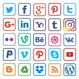 Social media icon flat line on popular Royalty Free Stock Image