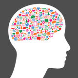 Social media icon in human brain. Many social media icons inside human brain Stock Image