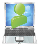 Social media icon laptop concept Stock Images
