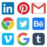 Social media icon for Linkedin, Pinterest, Gmail, Chrome, Google, Twitter, Behance, Vimeo, Tumbler. Illustrative editorial of social media icon for Linkedin stock illustration