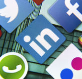 Social media icon Linkedin on smart phone screen Royalty Free Stock Photo