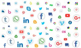 Social media icon pattern background for wallpaper on white background. Social media pattern background of the icons vector. Ai10 file version. This illustration stock illustration