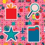 Social media icon 4 seamless pattern branding. Illustration idea big icon star gift search folder pink dotted background seamless pattern branding company Stock Photos