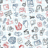 Social Media Icon seamless pattern.Doodle sketchy Royalty Free Stock Images
