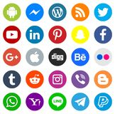 Social media icon series. A series of various social media and communications platform icons on white background stock illustration