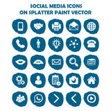 Social media icon set on blue light splatter paint. Flat icons  Stock Image