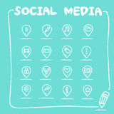 Social media icon set Royalty Free Stock Photos