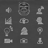 Social media icon set in hand drawn sketch style Royalty Free Stock Images