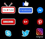 Social media icon set. Isolated Royalty Free Stock Image