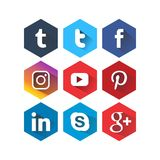 Icon Sosmed square six colors Royalty Free Stock Photos