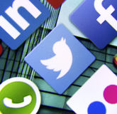 Social media icon Twitter on smart phone screen Stock Image