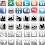 Social media icons. 12(36) high-quality icons for your website, blog or application Royalty Free Stock Images