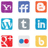 Social media icons. Set colored vector icons social networks Stock Image
