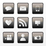 Social media icons. Black/grey social media buttons with various icons royalty free illustration